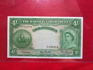 1953 Bahamas 4 Shillings Old Banknote S/n A /1