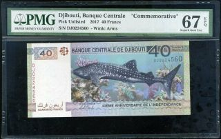 Djibouti 40 Francs 2017 P 46 Shark 40th Gem Unc Pmg 67 Epq
