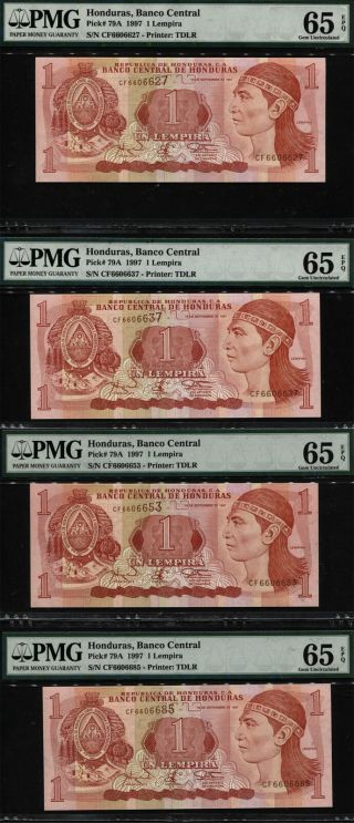 Tt Pk 79a 1997 Honduras 1 Lempira - Banco Central Pmg 65 Epq Gem Set Of Four