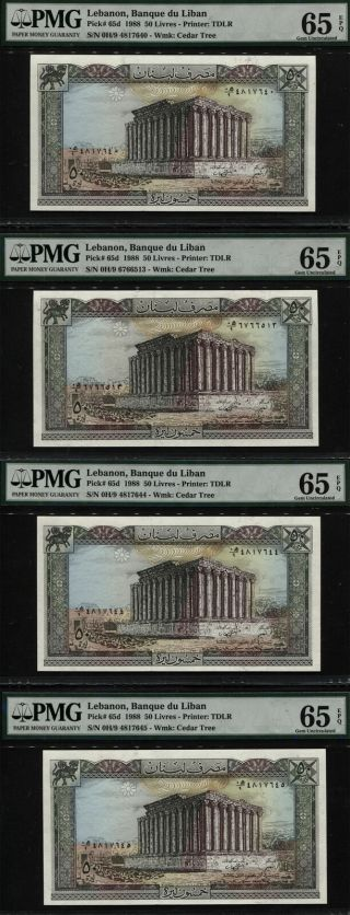 "Tt Pk 65d 1988 Lebanon 50 Livres "" Ruins "" Pmg 65 Epq Gem Unc Set Of Four Notes"
