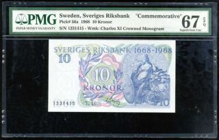 Sweden 10 Kroner Nd 1968 P 56 A Comm.  Gem Unc Pmg 67 Epq High