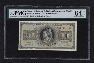 1942 Greece / German Occupation Wwii 1000 Drachmai Pick 118 Pmg 64 Epq Unc