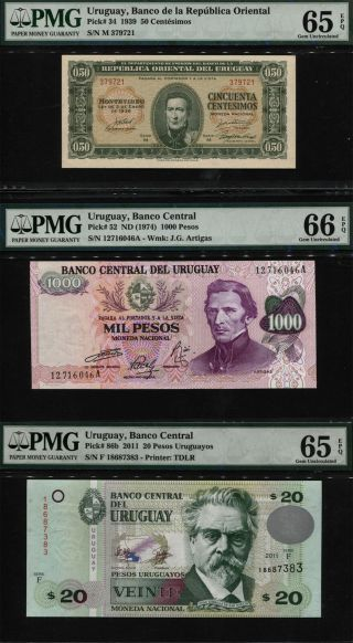 Tt Pk 34,  52,  & 86b 1939,  1974,  & 2011 Uruguay Pmg 65 Epq & 66 Epq Set Of Three