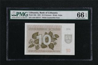 1991 Lithuania Bank Of Lithuania 10 Talonas Pick 35b Pmg 66 Epq Gem Unc