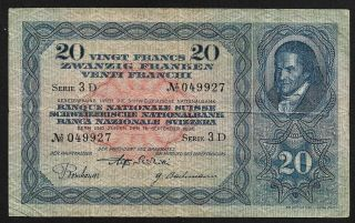 20 Francs From Switzerland 1930 M13