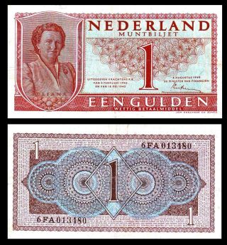 Netherlands 1949 1 Gulden Queen Juliana Muntbiljet Vf/ Xf P72