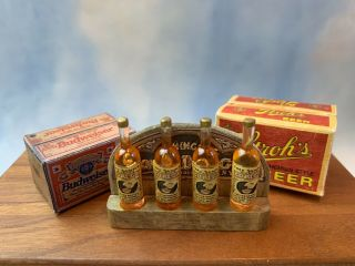 1980s Miniature Dollhouse Artisan 2 Hand Crafted Beer Cases Antique Gin Display