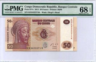 Congo 50 Francs 2013 P 97a Printer Hdm Gem Unc Pmg 68 Epq Highest