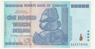 2008 Zimbabwe 100 Trillion Dollars Note Uncirculted.