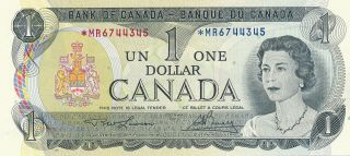 Bank Of Canada Replacement 1 Dollar 1973 Mr6744345 - Ch Unc