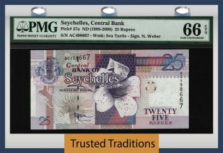 Tt Pk 37a Nd (1998 - 2008) Seychelles Central Bank 25 Rupees Pmg 66 Epq None Finer