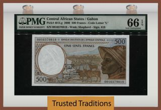 Tt Pk 401lg 2000 Central African States 500 Francs Pmg 66 Epq Gem Uncirculated