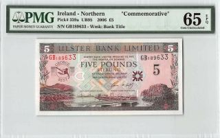 Northern Ireland,  Ulster Bank 2005 P - 339a Pmg Gem Unc 65 Epq 5 Pounds Commem