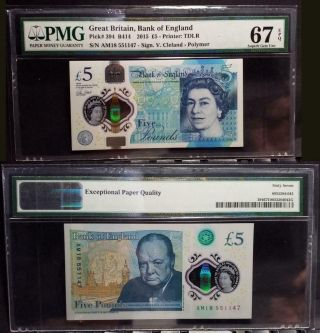 2890 Great Britain 2015 - 5£ - Gem Unc Pick 394 B414 - Pmg 67 - Epq