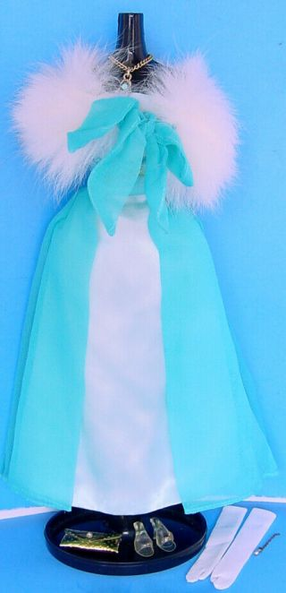 1966 - 1967 Barbie Outfit Debutante Ball 1616 W Matching Blue Gem Necklace