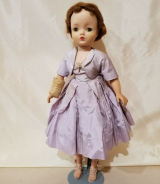 "20 "" Hard Plastic/rubber Arms 1957 Cissy Madame Alexander Doll In Lilac Outfit"
