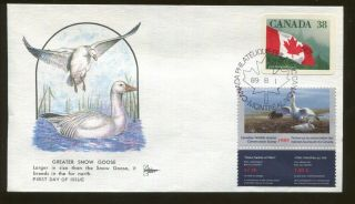 1989 Canada Wildlife Conservation Duck Stamp Cn5 Gill Craft First Day Cover
