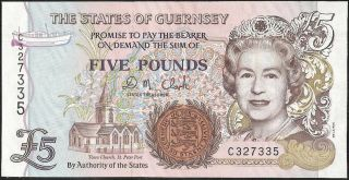 The States Of Guernsey 5 Pounds (1996) P:56b Unc