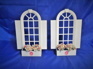 1990 Barbie Magical Mansion Replacement Parts - Arched Windows W/ Flower Boxes