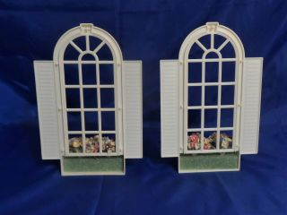 1990 Barbie Magical Mansion Replacement Parts - Arched Windows w/ Flower Boxes 2