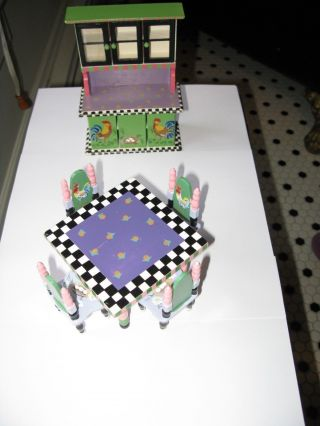Dollhouse Miniature Kitchen Table,  Chairs And Cabinet By Eye Candy Scale 1:12