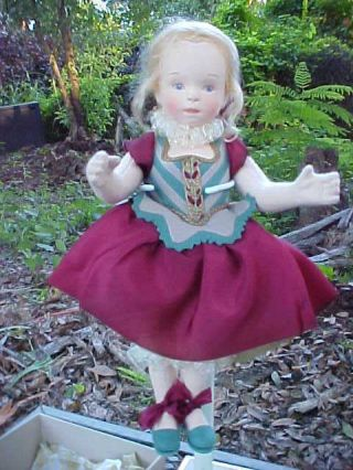 """R John Wright Doll Artist 12 """" Hand Painted Felt Candy Container Musette Ufdc"""