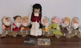 "Retired 18 "" Gotz Puppe Snow White,  The Seven Drawfs 11 "" Tall,  Dvd/blu - Ray Movie"