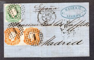 1865 Portugal Cover,  Lisboa Lisbon To Madrid,  Spain,  Sc 13 10r Pair & Sc 15 50r