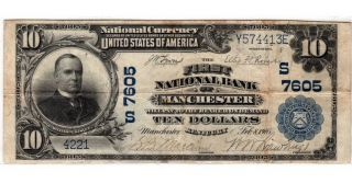 $10 1902 Plain Back The First National Bank Of Manchester,  Ky Ch 7605