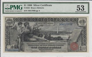 1896 $1 Silver Certificate Fr 225 Educational Note Pmg 53