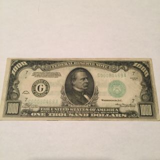1934 $1000 One Thousand Dollar Bill Frn Chicago Federal Reserve Note At