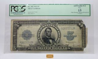 Fr.  282 1923 Lincoln Large Size Silver Certificate $5,  Pcgs F15 Details - 17174
