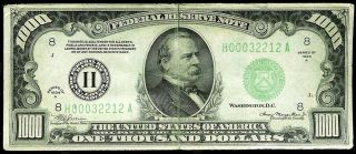 1934 A $1000 Saint Louis Federal Reserve Note Light