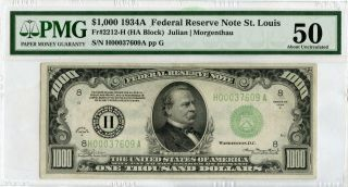 1934 - A $1,  000 One Thousand Dollars Federal Reserve Note Pmg 50 St Louis - Jd594