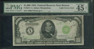 1934 $1000 Boston One Thousand Dollar Bill Pmg 45