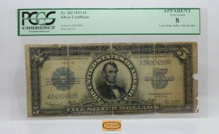 Fr.  282 1923 Lincoln Large Size Silver Certificate $5,  Pcgs Vg 8 Details - 17275