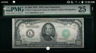 1934a $1000 One Thousand Dollar Bill Scarce Philly Note Pmg Ef 40