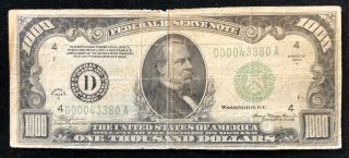 1934 $1000 One Thousand Dollar Bill Series D Cleveland Ohio