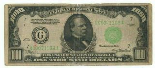 1934 Us Federal Reserve $1000 One Thousand Dollar Bill G Chicago Note H00071109