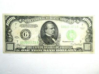 1934 Chicago One Thousand Dollar Bill $1000 Federal Reserve Note Extra Fine