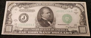 1934 A $1000 Federal Reserve One Thousand Dollar Note Kc Missouri