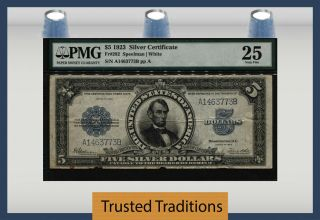 Tt Fr 282 1923 $5 Silver Certificate Porthole Small Blue Seal Pmg 25 Very Fine