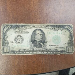 1934 $1000 Frn Federal Reserve Note Early Us Small Size Note