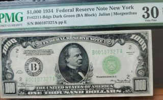 1934 $1000 One Thousand Dollar York Reserve Note Pmg Vf30