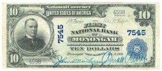 1902 $10 First National Bank Of Monongah,  Wv National Currency - About Very Fine