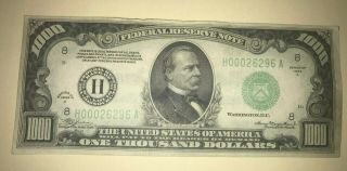 1000 One Thousand Dollar Bill Currency 1934 A St Louis H00026296 A