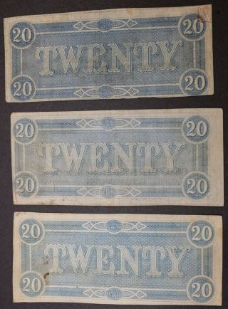 34 1864 Civil War Confederate Currency T - 67 $20 Csa Notes Tennessee Capital