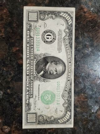 1934 One Thousand Dollar Fed Reserve Note Chicago Highly Sought $1000 - Crispy