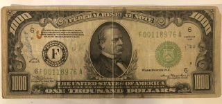 Series 1934 $1000 One Thousand Dollars Federal Reserve Note