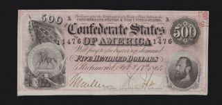 Us Csa T - 64 $500 Confederate States Note T - 64 Vf - Xf (- 476)